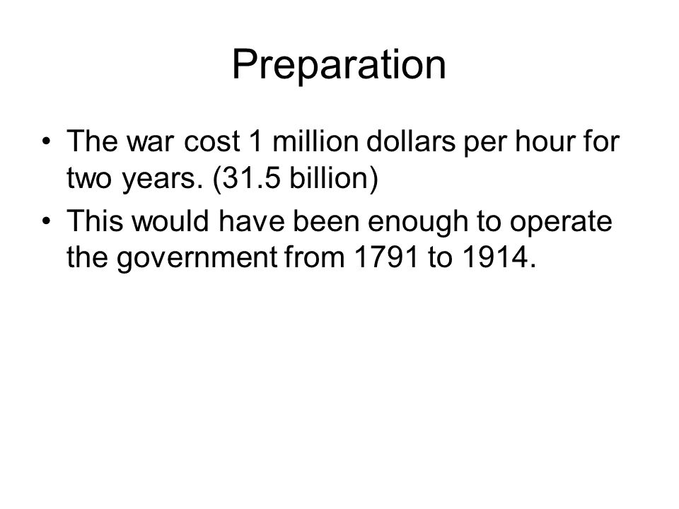 Preparation The war cost 1 million dollars per hour for two years. (31.5 billion)