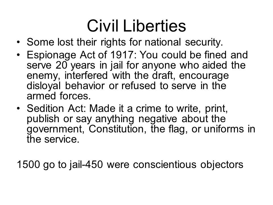 Civil Liberties Some lost their rights for national security.