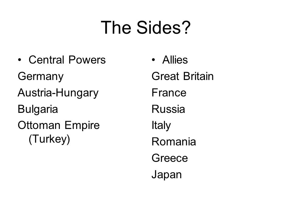 The Sides Central Powers Germany Austria-Hungary Bulgaria