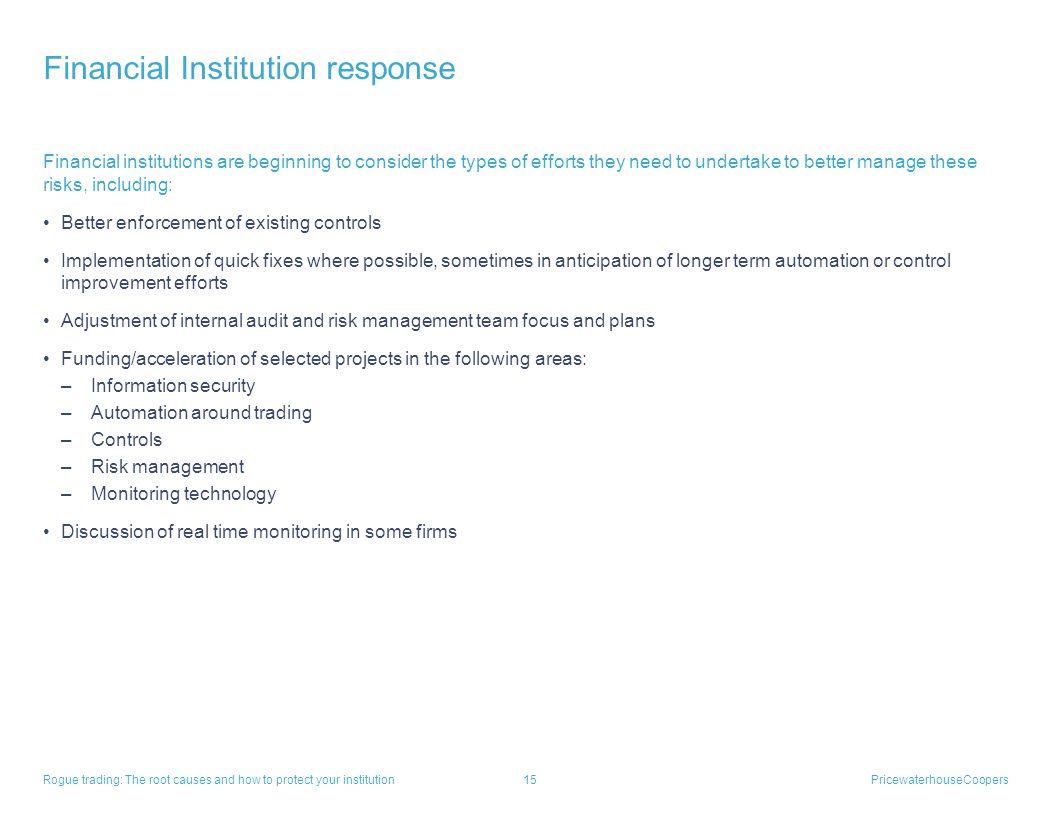Financial Institution response