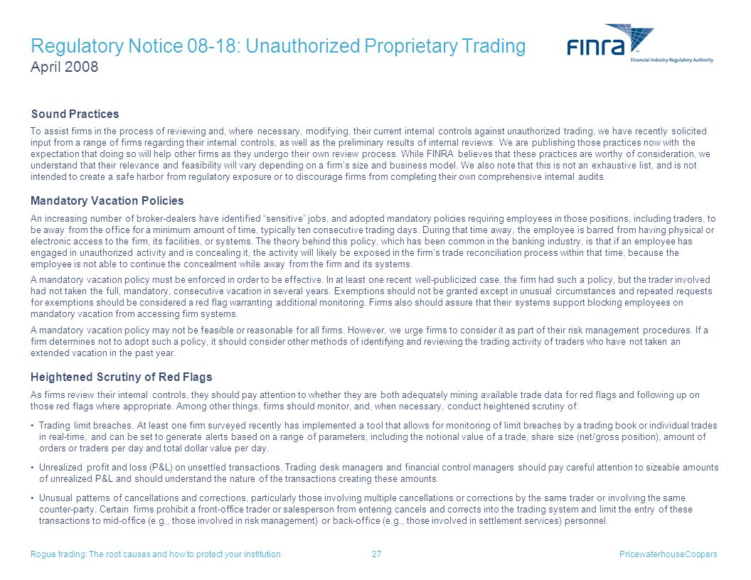 Regulatory Notice 08-18: Unauthorized Proprietary Trading April 2008