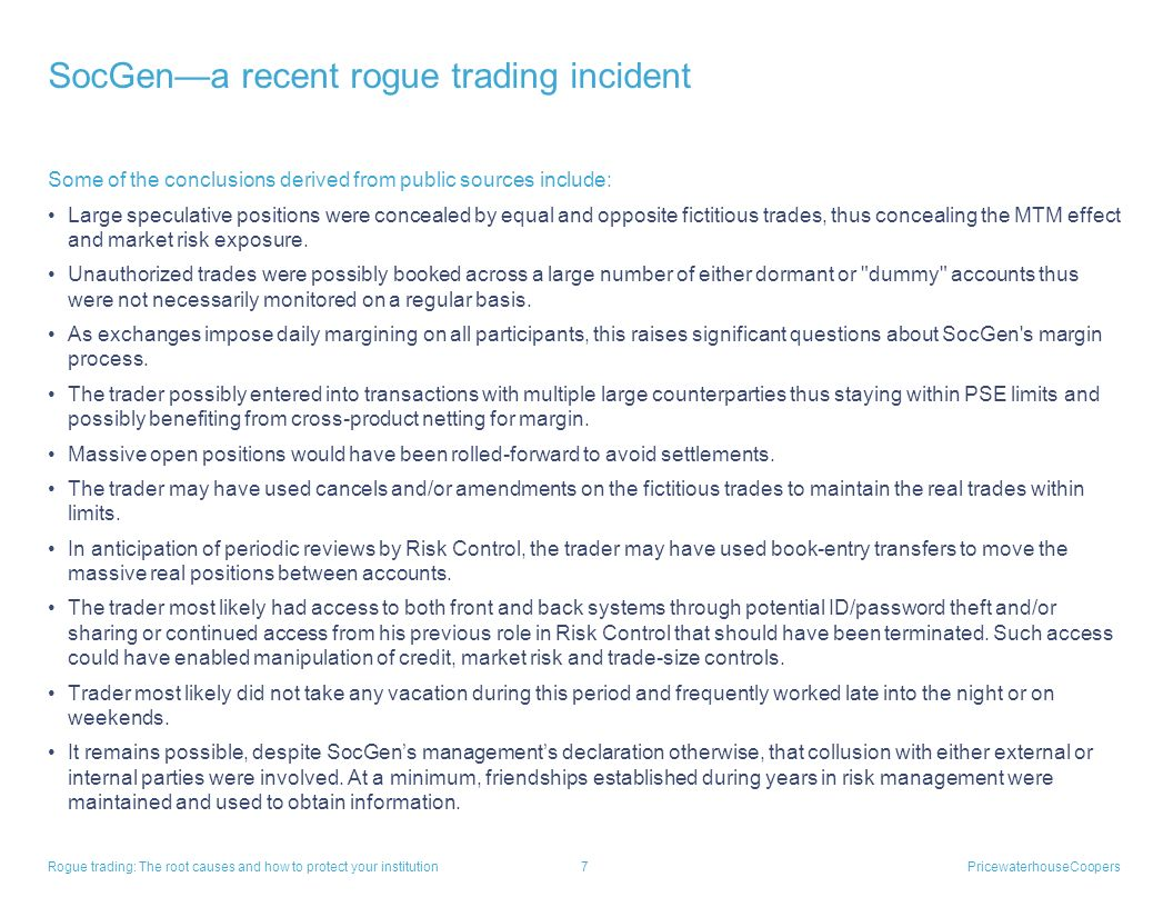 SocGen—a recent rogue trading incident