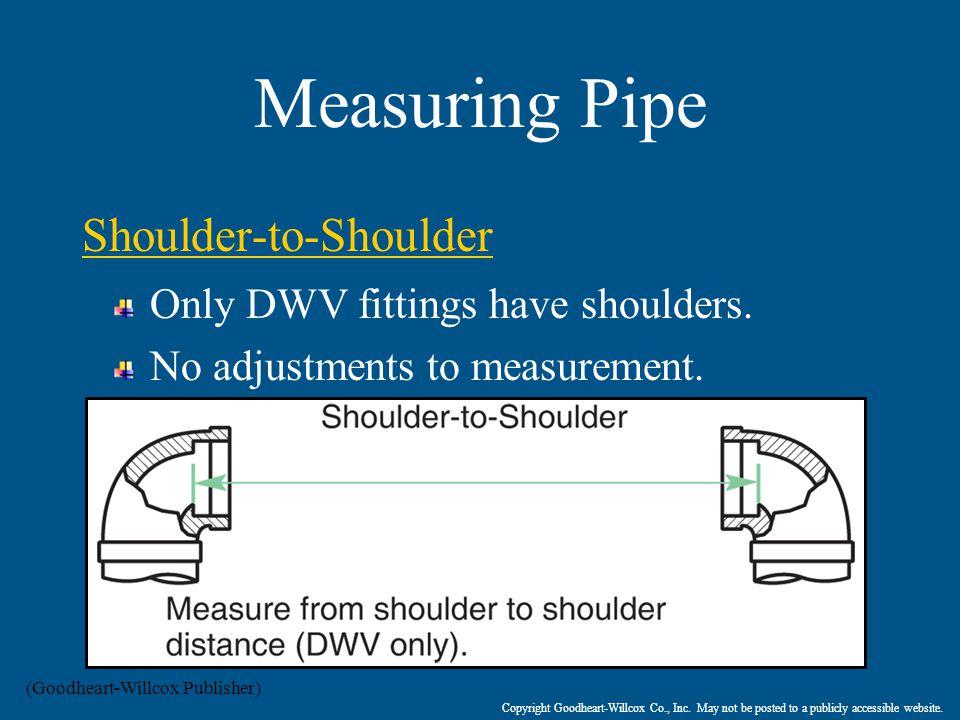 Measuring Pipe Shoulder-to-Shoulder Only DWV fittings have shoulders.
