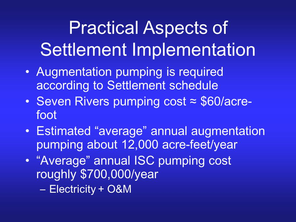 Practical Aspects of Settlement Implementation