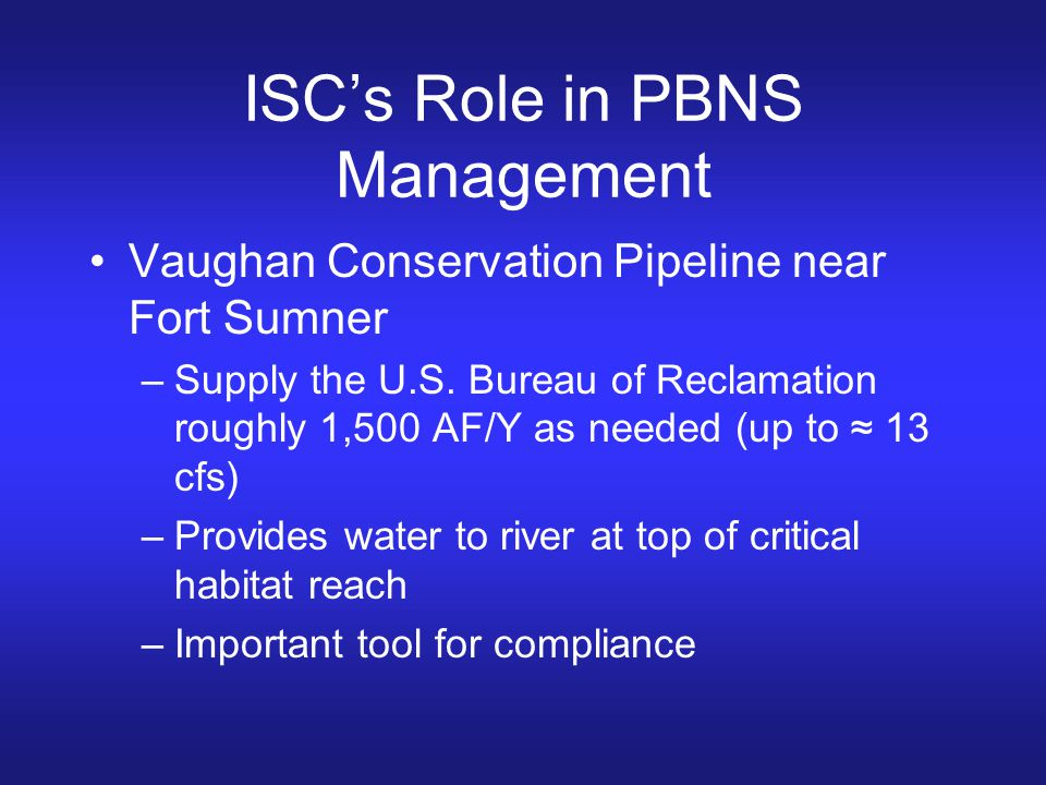 ISC's Role in PBNS Management
