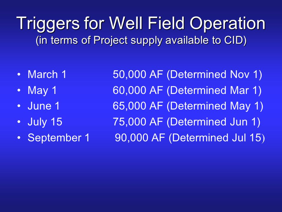 Triggers for Well Field Operation (in terms of Project supply available to CID)