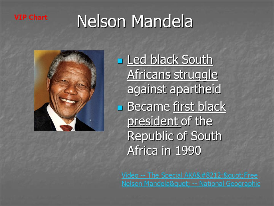 Nelson Mandela Led black South Africans struggle against apartheid