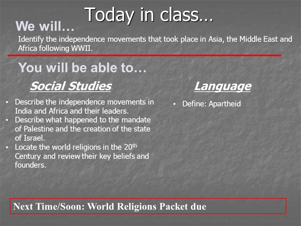 Today in class… We will… You will be able to… Social Studies Language