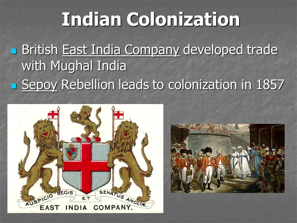 Indian Colonization British East India Company developed trade with Mughal India.
