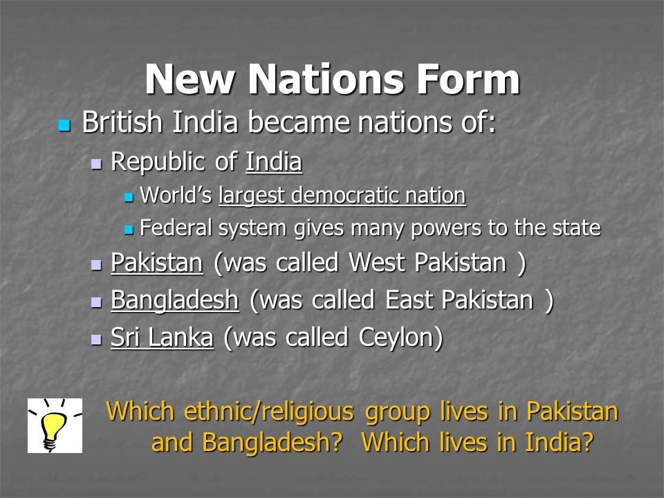 New Nations Form British India became nations of: Republic of India