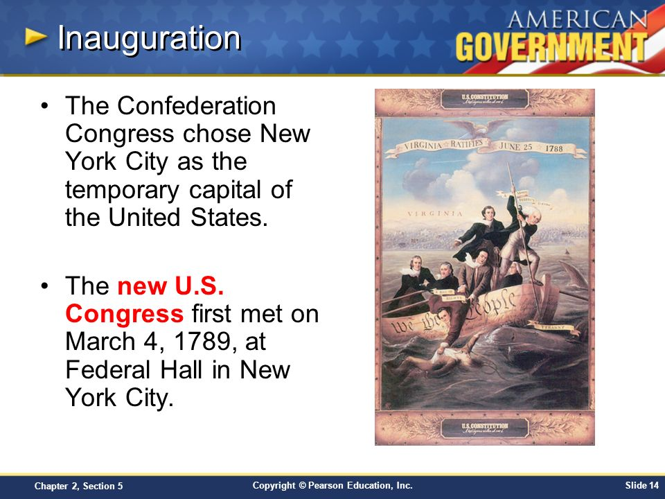 Inauguration The Confederation Congress chose New York City as the temporary capital of the United States.