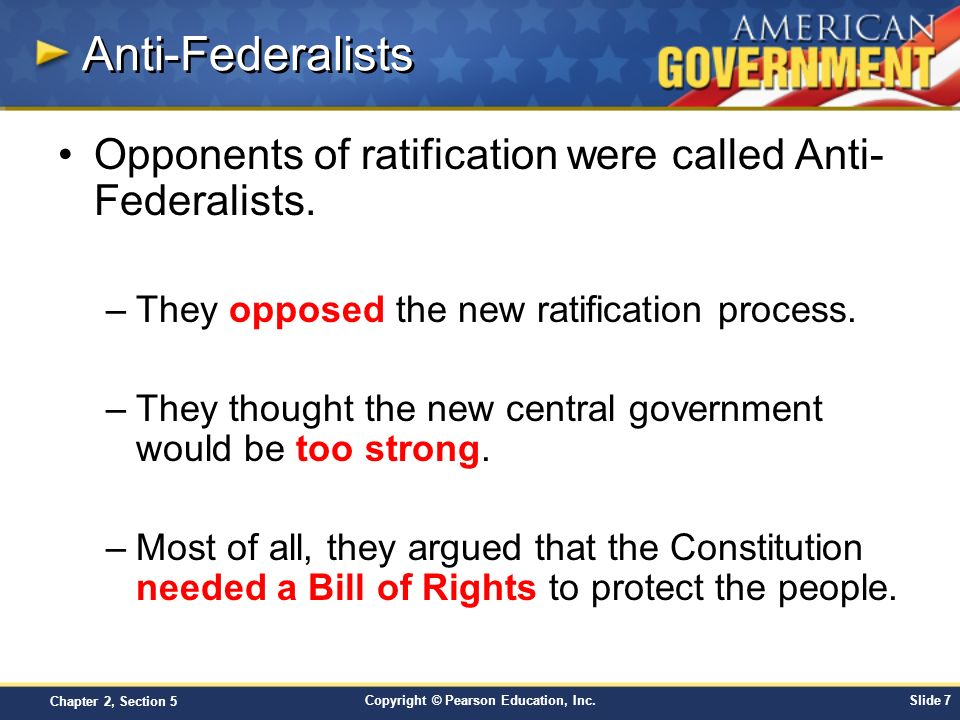 Anti-Federalists Opponents of ratification were called Anti-Federalists. They opposed the new ratification process.