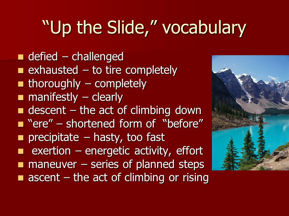 Up the Slide, vocabulary