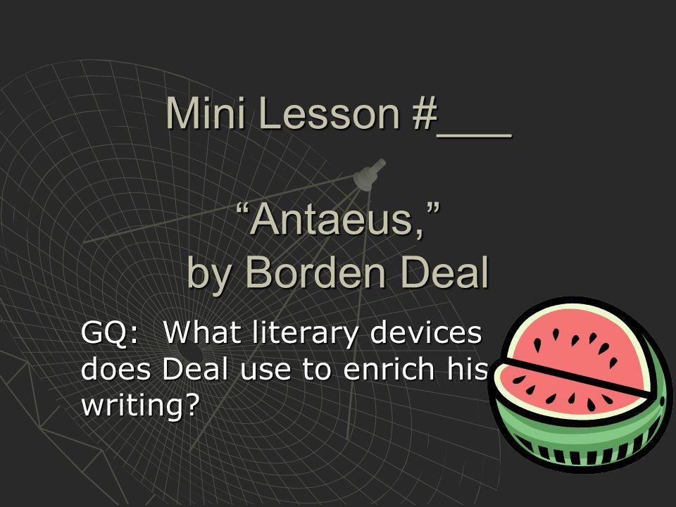 Mini Lesson #___ Antaeus, by Borden Deal