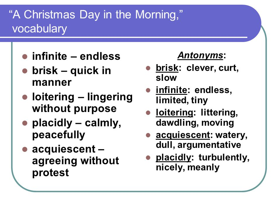 A Christmas Day in the Morning, vocabulary