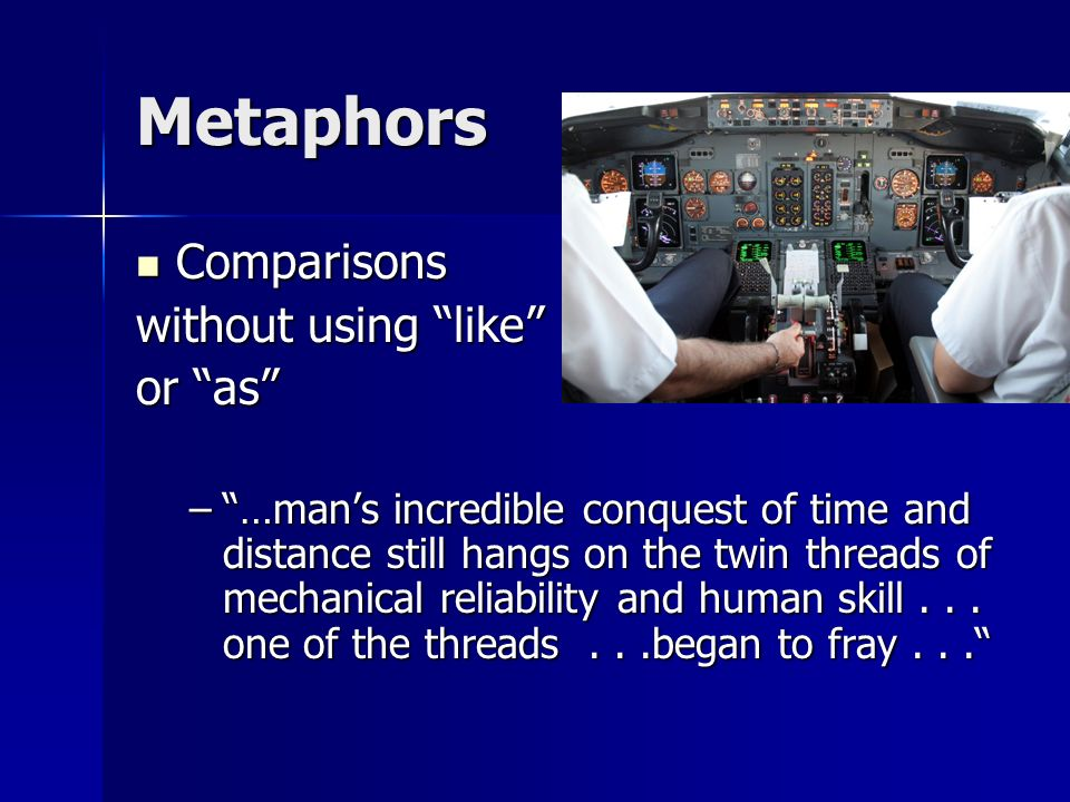 Metaphors Comparisons without using like or as