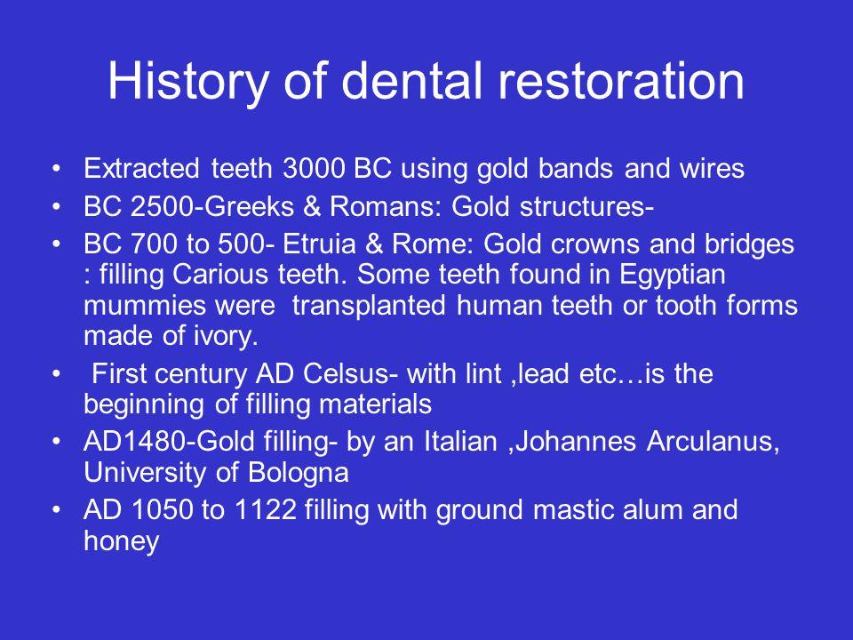 History of dental restoration