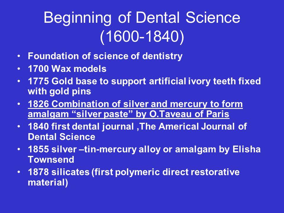 Beginning of Dental Science (1600-1840)