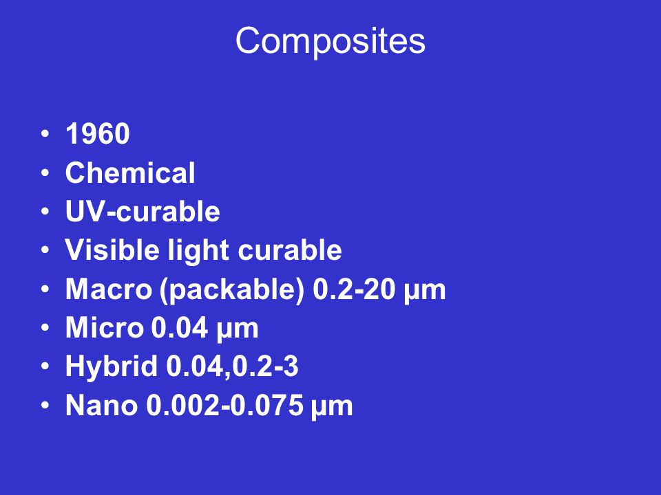 Composites 1960 Chemical UV-curable Visible light curable