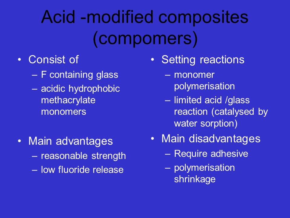 Acid -modified composites (compomers)