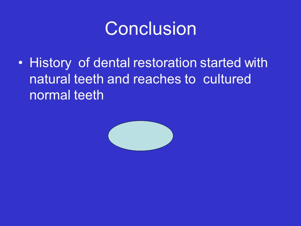 Conclusion History of dental restoration started with natural teeth and reaches to cultured normal teeth.