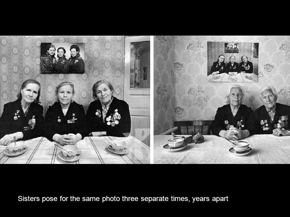 Sisters pose for the same photo three separate times, years apart.