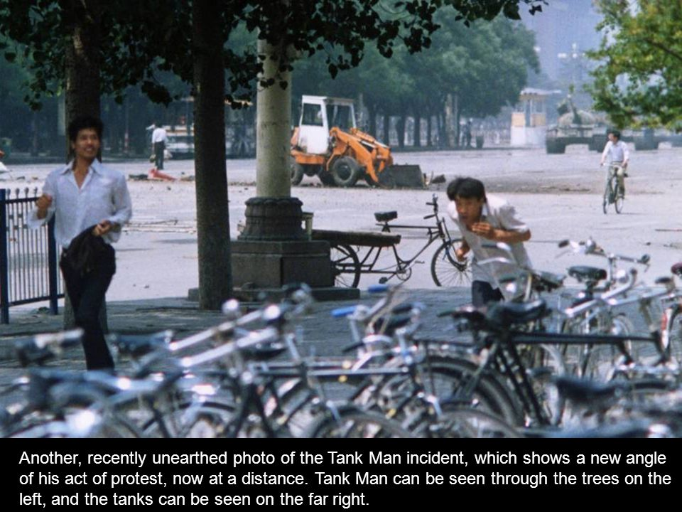 Another, recently unearthed photo of the Tank Man incident, which shows a new angle of his act of protest, now at a distance.