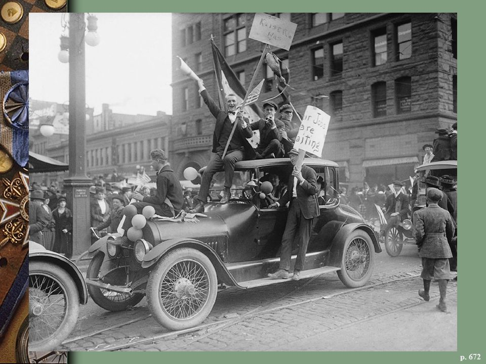 WAR ENTHUSIASM IN THE HEARTLAND In Denver, automobiles carrying young army recruits parade through the city.