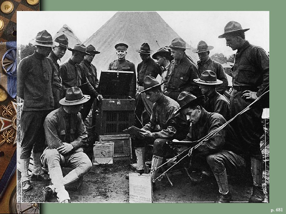 WORLD WAR I SOLDIERS LISTEN TO A SPECIAL ARMY AND NAVY MODEL EDISON PHONOGRAPH Since the beginning of the war, declared the Edison Company, there has welled up from the trenches in Europe a great cry for music.