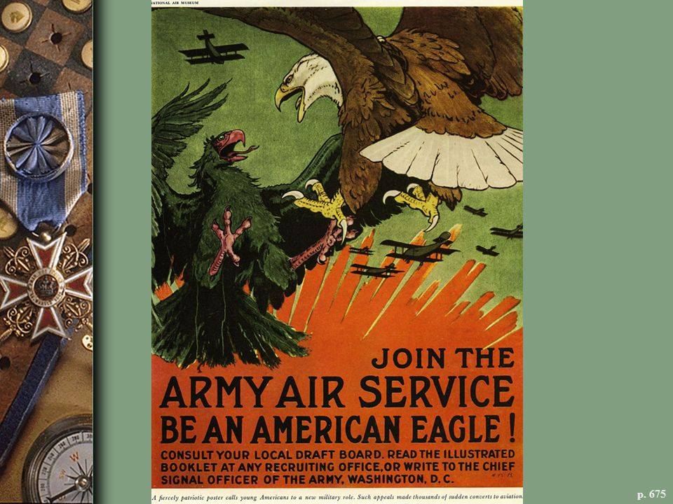 THE WAR IN THE AIR This recruitment poster evoked the romance and excitement of air combat in World War I, the first in which airplanes played a role.