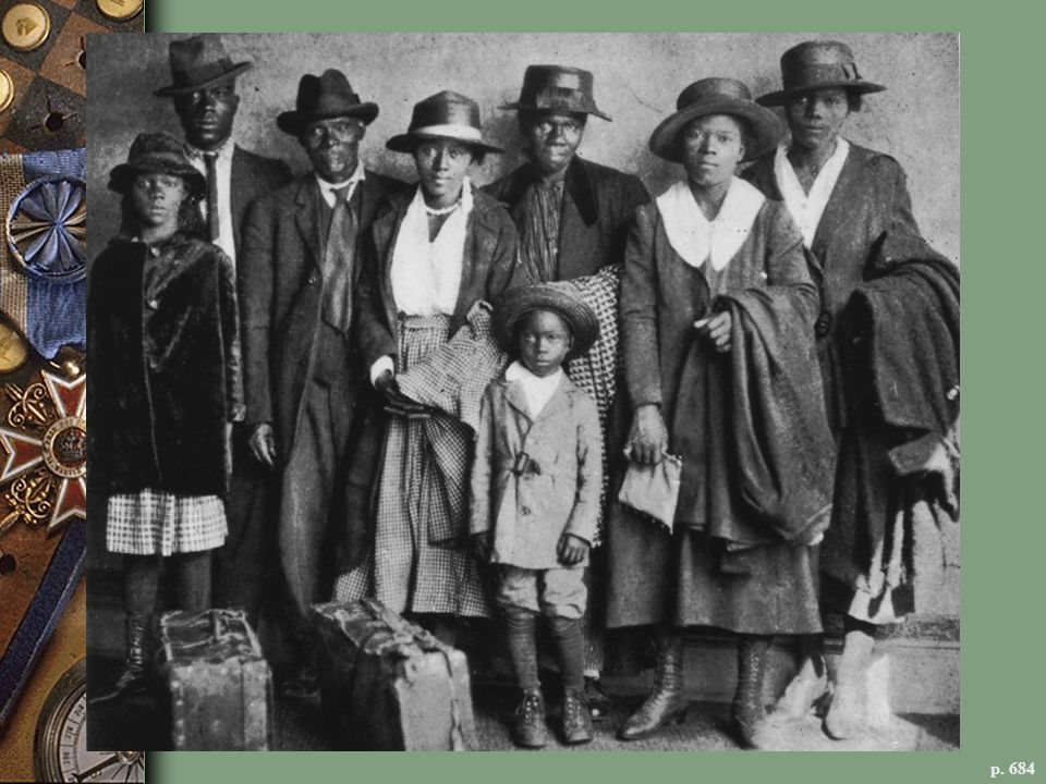AN AFRICAN-AMERICAN FAMILY ARRIVES IN CHICAGO, 1912 Seeking a better life, African-Americans moved North in great numbers in the early twentieth century. Among the newcomers was Fraser Robinson Jr., grandfather of Michelle Obama, the future first lady, who came to Chicago from South Carolina.