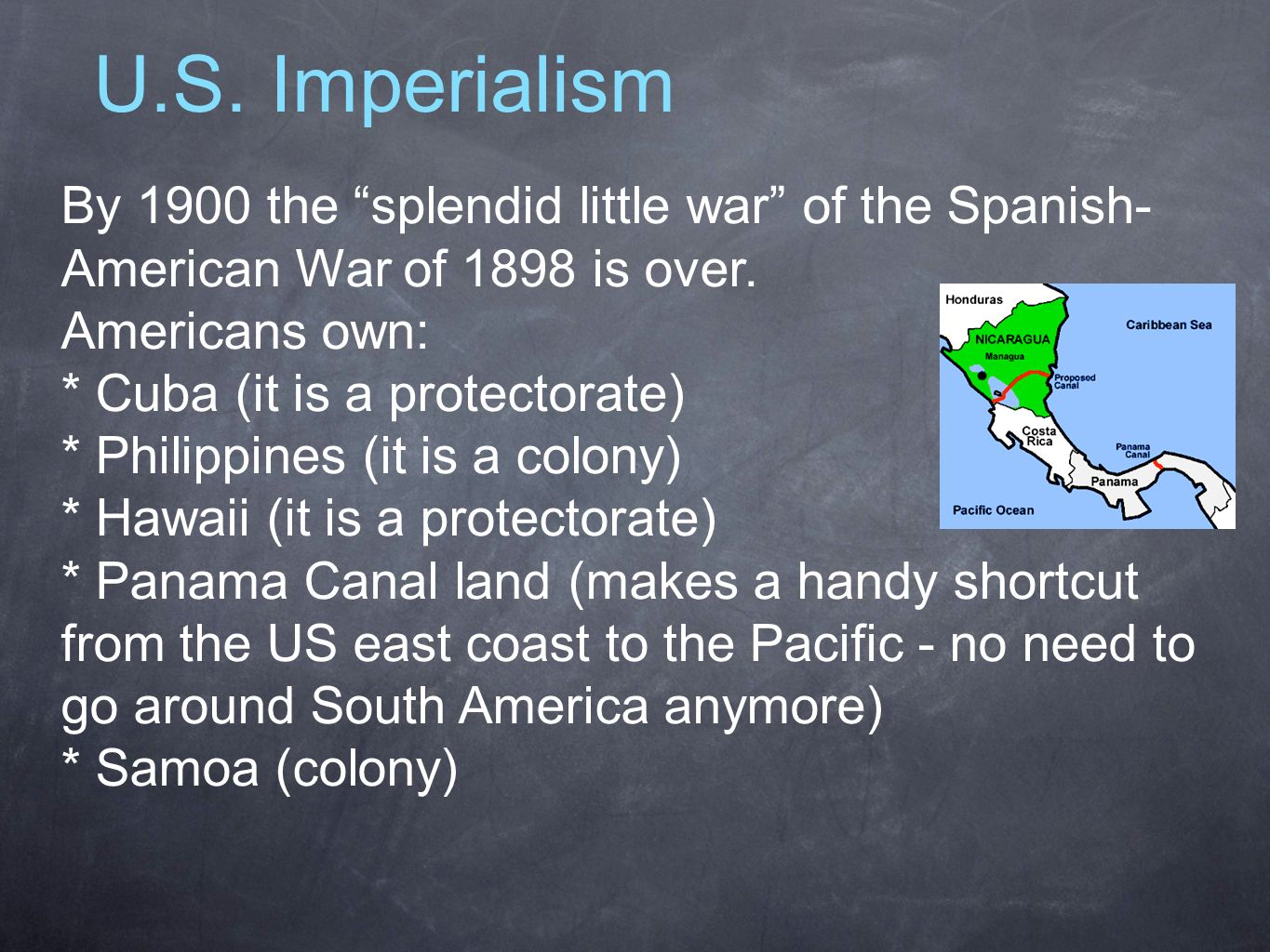 U.S. Imperialism By 1900 the splendid little war of the Spanish-American War of 1898 is over. Americans own: