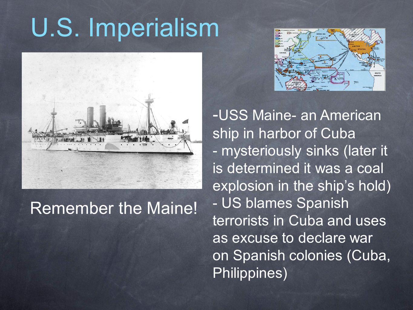 U.S. Imperialism -USS Maine- an American ship in harbor of Cuba
