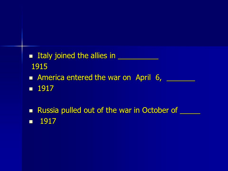 Italy joined the allies in __________
