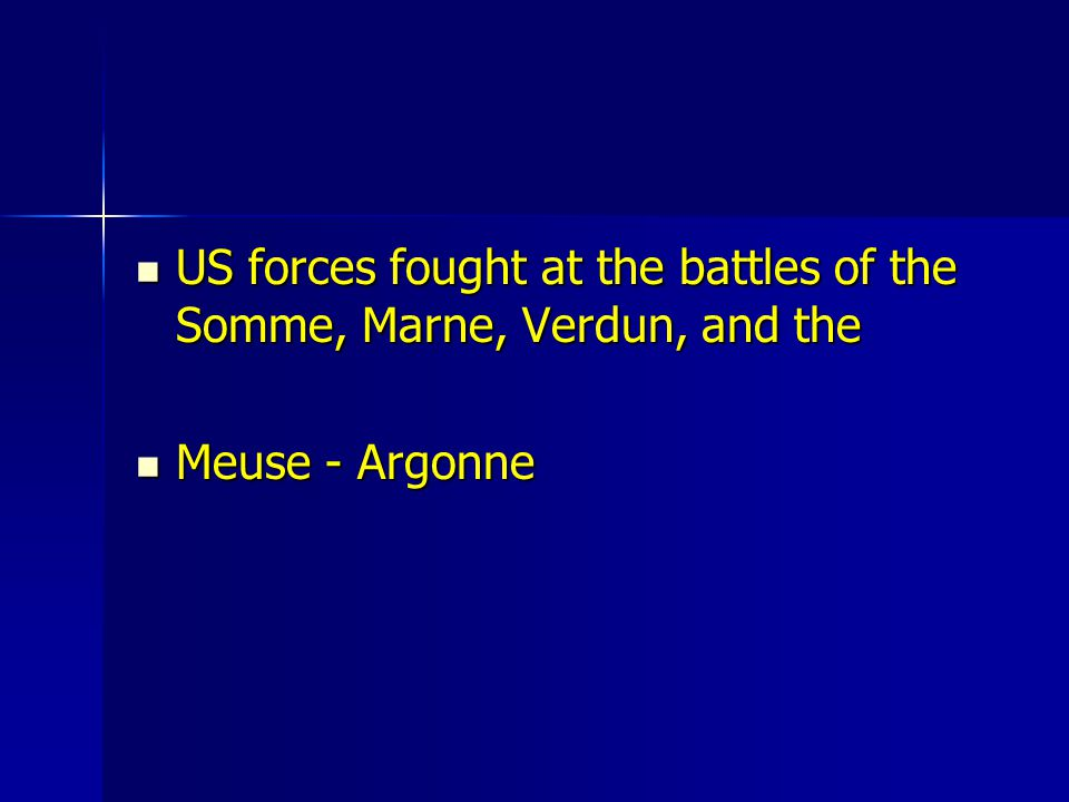 US forces fought at the battles of the Somme, Marne, Verdun, and the