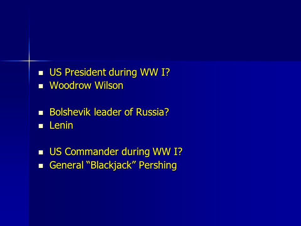 US President during WW I