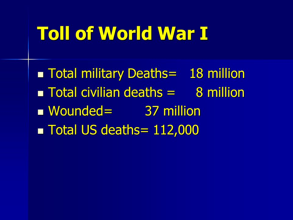 Toll of World War I Total military Deaths= 18 million