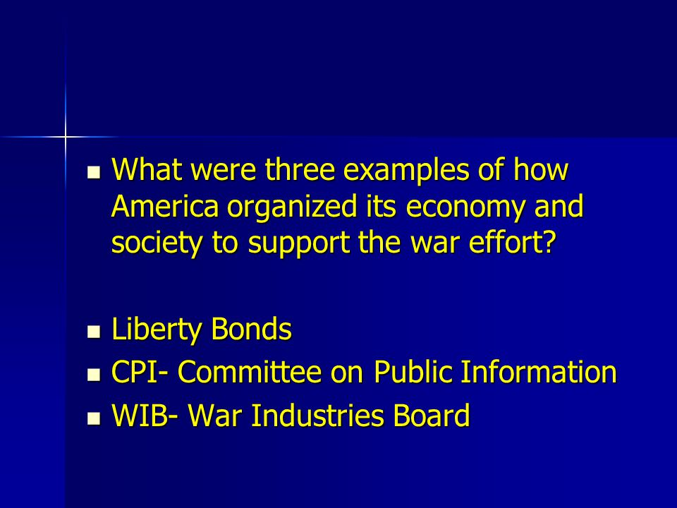What were three examples of how America organized its economy and society to support the war effort