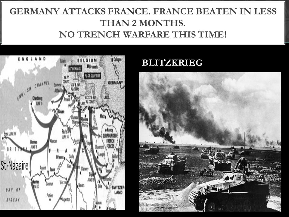 Germany attacks France. France Beaten in less than 2 months