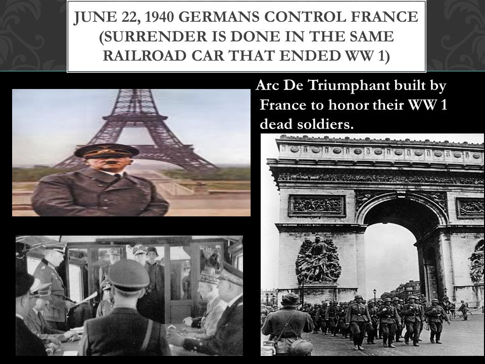 June 22, 1940 Germans control France (Surrender is done in the Same Railroad Car that ended WW 1)
