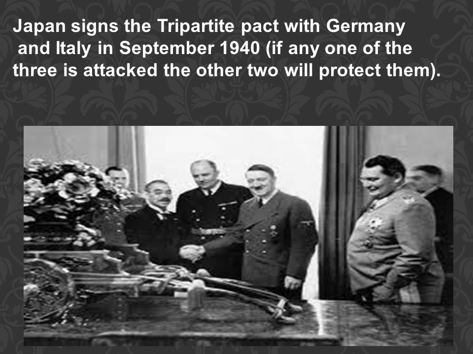 Japan signs the Tripartite pact with Germany