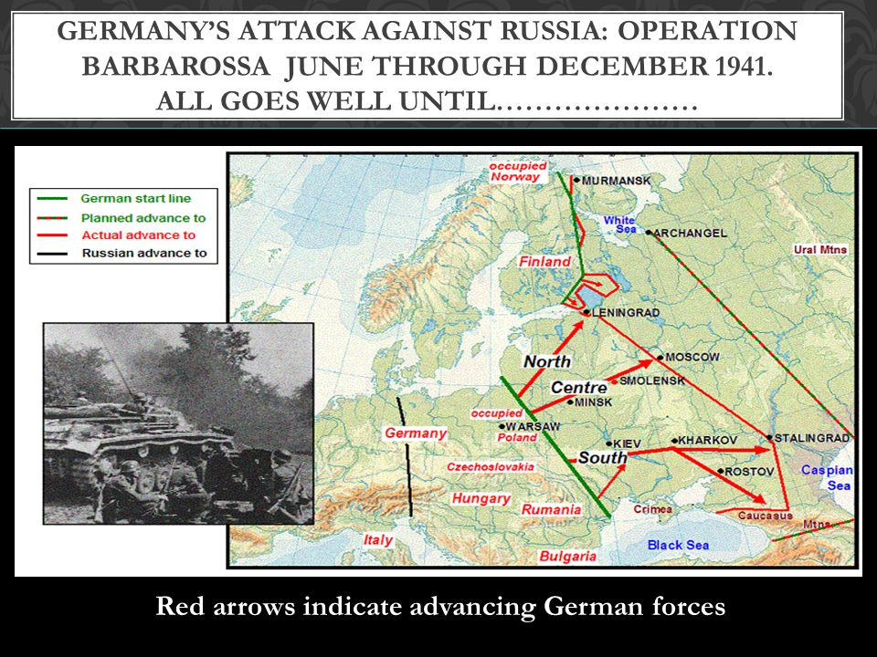 Germany's attack against Russia: Operation Barbarossa June through December 1941. All goes well until…………………