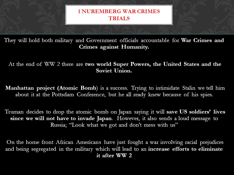 1 Nuremberg War Crimes Trials