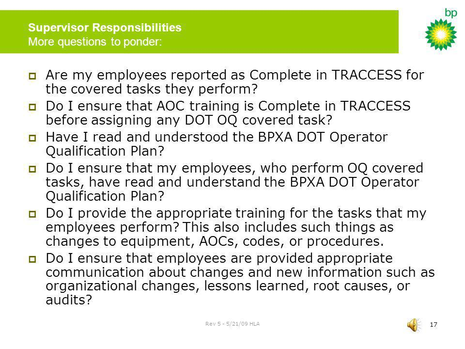 Supervisor Responsibilities More questions to ponder: