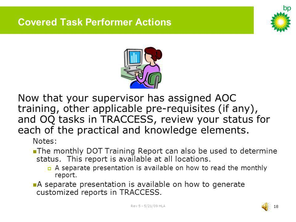 Covered Task Performer Actions