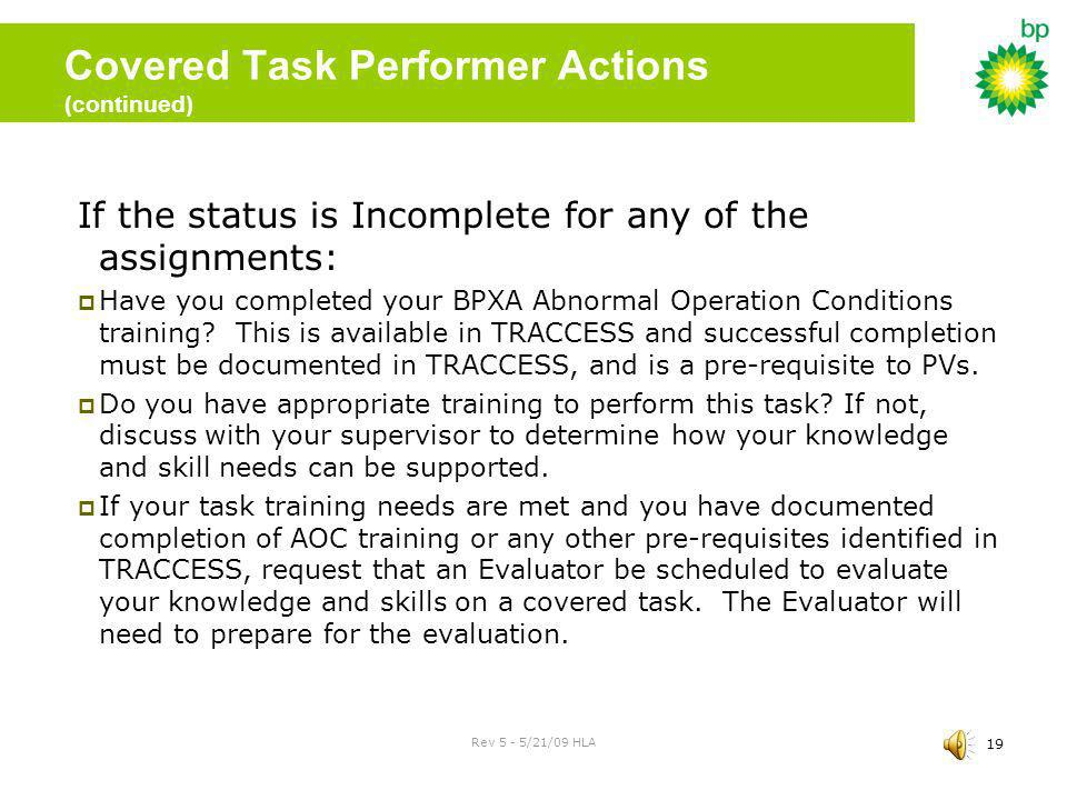 Covered Task Performer Actions (continued)