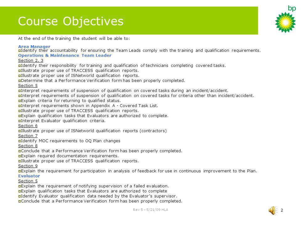 Course Objectives At the end of the training the student will be able to: Area Manager.