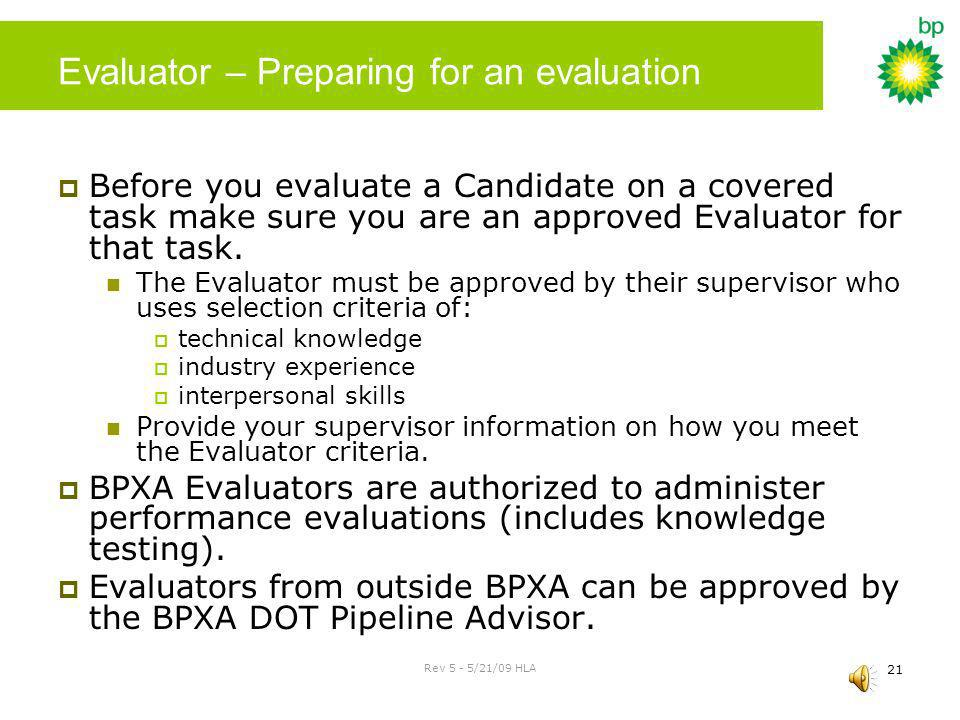 Evaluator – Preparing for an evaluation