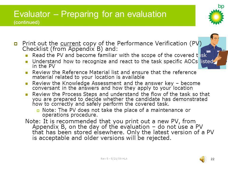 Evaluator – Preparing for an evaluation (continued)