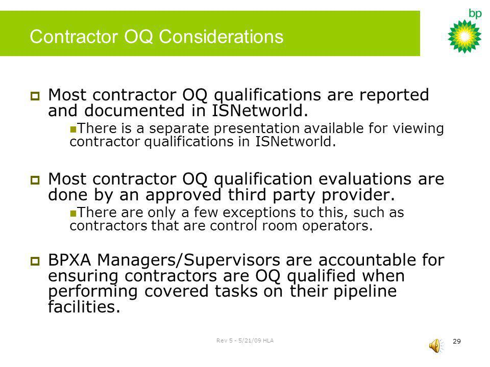 Contractor OQ Considerations